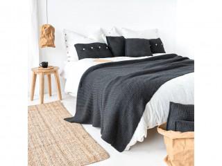 Подушка с деревянными пуговицами, антрацит